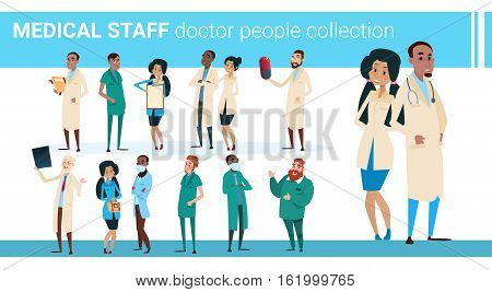 Group Medial Doctors Collection Hospital Team Clinic Banner Flat Vector Illustration