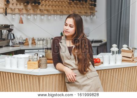 Portrait of beautiful young barmaid in apron