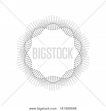 Halftone effect round frame. Black dots on white background. Halftone effect illustration. Abstract dotted background.
