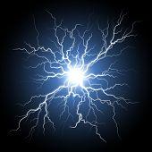 Thunder storm flash light on black background. Vector realistic electricity lightnings. Illustration of nerve connection poster