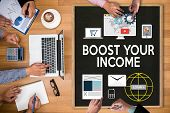 BOOST YOUR BUSINESS BOOST YOUR INCOME Business Technology Internet and network boost your brand BUSINESS BRAINSTORM poster