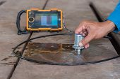 Ultrasonic test to detect imperfection or defect of steel plate NDT Inspection poster