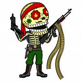 Commandos in the jungle with a machine gun and uzi. Vector flat and linear Illustration of skeleton. Web banners advertisements brochures business templates. Isolated on a white background. poster