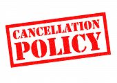 CANCELLATION POLICY red Rubber Stamp over a white background. poster