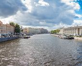 Fontanka River in St Petersburg view from the Anichkov Bridge in summer day poster
