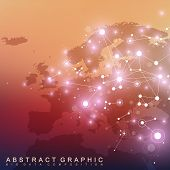 Geometric graphic background communication with Europe Map. Big data complex with compounds. Perspective backdrop. Minimal array. Digital data visualization. Scientific cybernetic vector illustration poster