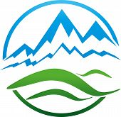 Mountains and meadow, hill, travel agency and sports logo poster