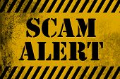 Scam alert sign yellow with stripes 3D rendering poster