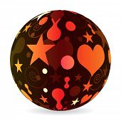 (raster image of vector) abstract multicolor ball poster
