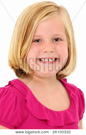 Adorable 7 year old blond american girl close up head shot over white background smiling.