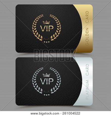 Vector Vip Golden And Platinum Card. Black Geometric Pattern Background With Crown Laurel Wreath. Lu