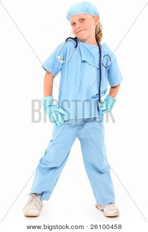 Adorable 7 year old blond girl in surgical scrubs over white background. poster