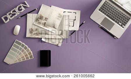 Architect Designer Concept, Violet Work Desk With Computer, Paper Draft, Bedroom Project Images And