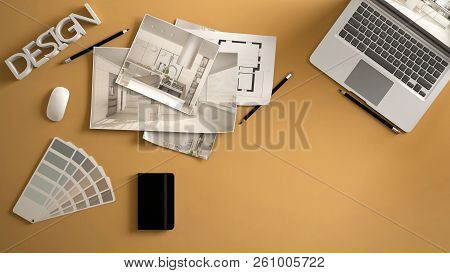 Architect Designer Concept, Yellow Work Desk With Computer, Paper Draft, Kitchen Project Images And