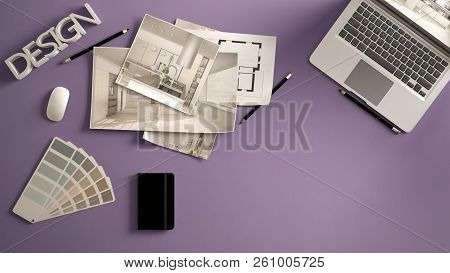 Architect Designer Concept, Violet Work Desk With Computer, Paper Draft, Kitchen Project Images And