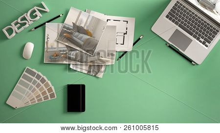 Architect Designer Concept, Green Work Desk With Computer, Paper Draft, Bedroom Project Images And B