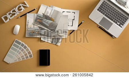 Architect Designer Concept, Yellow Work Desk With Computer, Paper Draft, Bedroom Project Images And