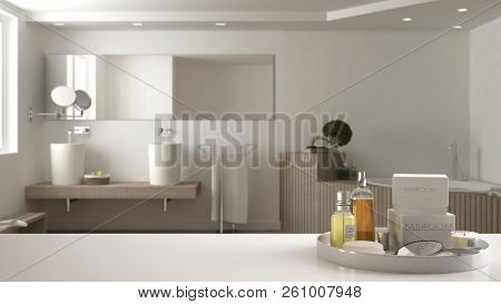 Spa, hotel bathroom concept. White table top or shelf with bathing accessories, toiletries, over blurred wooden minimalist bathroom, modern architecture interior design, 3d illustration poster