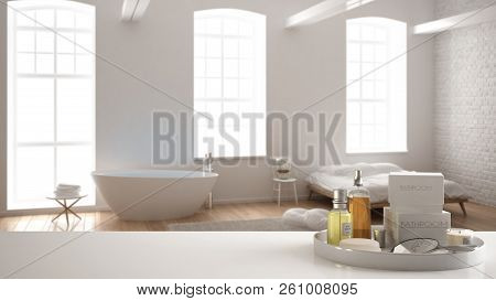 Spa, hotel bathroom concept. White table top or shelf with bathing accessories, toiletries, over blurred minimalist bathroom with bedroom, modern architecture interior design, 3d illustration poster