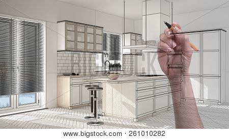 Hand drawing custom modern minimalist white kitchen. Tailored unfinished project architecture interior design, 3d illustration poster