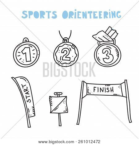 Vector Illustration Of Sport Orienteering Isolated Elements:  Control Point, Medal, Start, Finish Ba