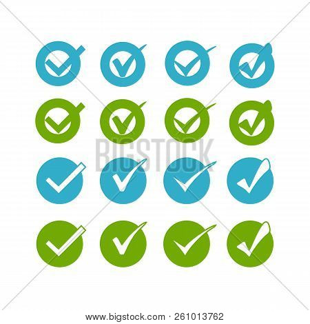 Blue Green Buttons On White Background For Web Site Or Application.