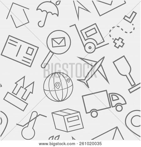 Shipping Logistics Seamless Pattern Gray Icon Set Background.