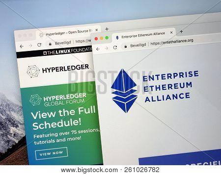 Amsterdam, Netherlands - October 1, 2018:  Websites Of The Enterprise Ethereum Alliance Or Eea And H