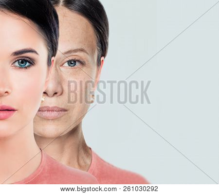 Female Face. Aging And Youth. Young And Older Woman. Before And After, Youth And Old Age