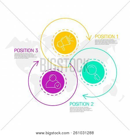 Modern And Simple Vector Illustration. Three Circles Infographic Template With Arrows, Elements, Sec