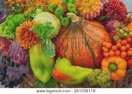 Vavariety Of Vegetables In The Basket On The Market. Stillife