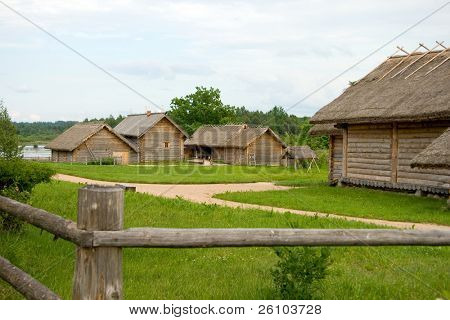 poster of Travel in Russia. Ancient peasant household