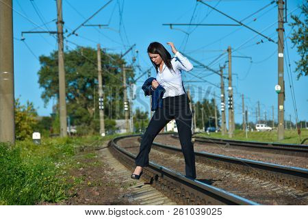 Woman Running On Railway, Run Away, Need To Escape, Going Far, Towards The Unknown