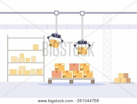 Factory Packing And Store Concept. Warehouse With Boxes Flat Vector Illustration.