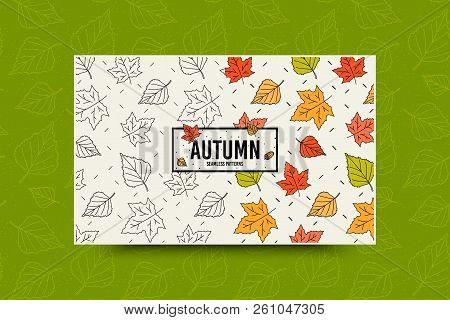 Autumn Maple Leaf Seamless Pattern. Fall Leaves Texture. Seasonal Web Banner Template With Leaf Patt