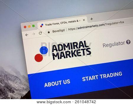 Amsterdam, Netherlands - October 1, 2018: Website Of Admiral Markets.
