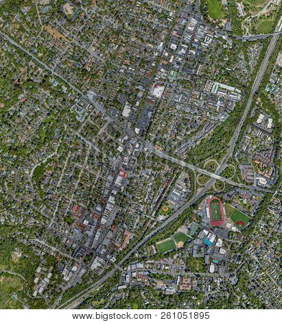 High-Altitude (Ortho) View of Downtown Los Gatos