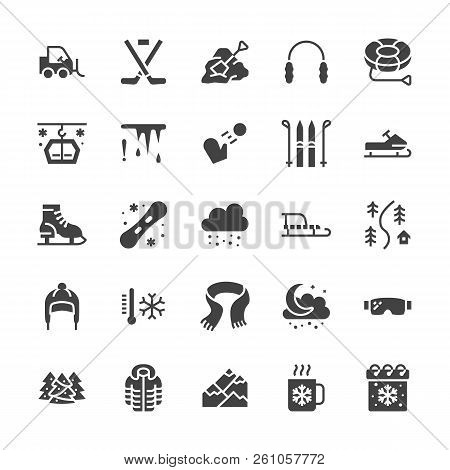 Winter sports flat glyph icons. Cold weather outdoor activities - skiing, hockey, snowboard, snowball, snow removal vector illustrations. Signs equipment store. Solid silhouette pixel perfect 48x48 poster