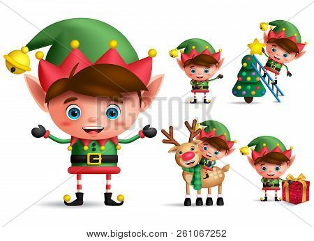 Boy Christmas Elf Vector Character Set. Little Kid Elves With Green Costume Holding Christmas Gifts
