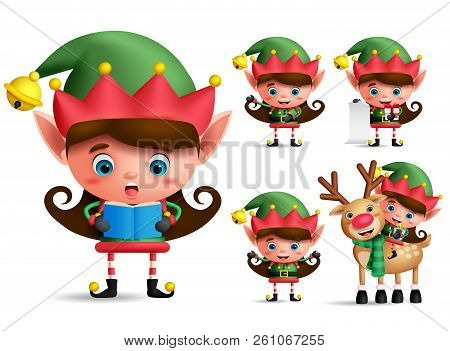 Girl Christmas Elf Vector Character Set. Little Kid Elves With Green Costume Singing Christmas Song
