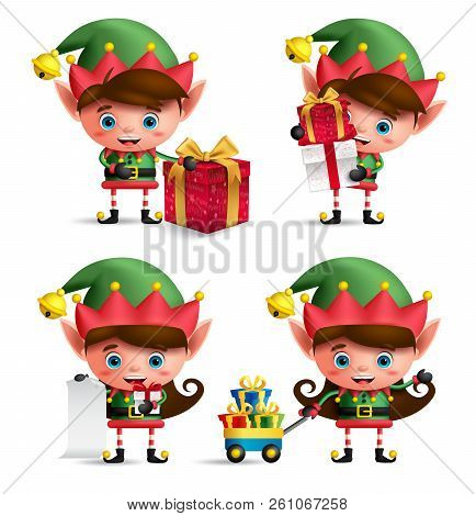 Christmas Elves Vector Characters Set. Cute Kids With Green Elf Costume Holding Gifts And Other Chri