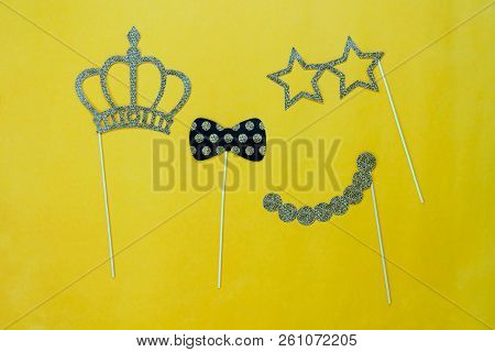 Table Top View Aerial Image Of Sign Anniversary Day Background Concept.photo Booth Props On Modern G