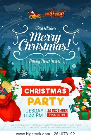 Christmas Party Poster Or Invitation Card. Happy New Year And Xmas Greeting Design With Santa In Sle