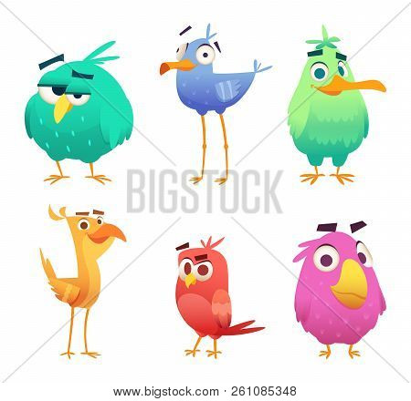 Cartoon Funny Birds. Faces Of Cute Animals Colored Baby Eagles Happy Birds. Vector Clipart Character