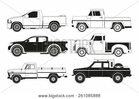 Pickup Truck Silhouettes. Black Pictures Of Various Automobiles. Transport Pickup 4x4 Collection, Mo