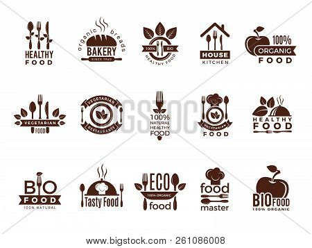 Restaurant Logo. Food Manufacture Vintage Labels For Kitchen Eco Fresh Healthy Cooking House Vector