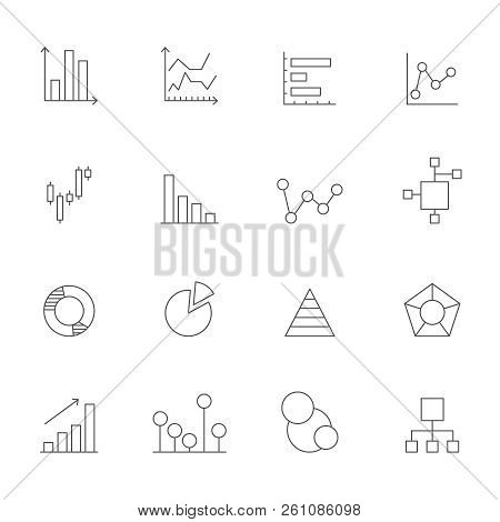 Icons Of Charts And Diagrams. Mono Line Pictures Of Various Business Diagrams. Business Chart And Di
