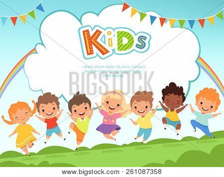 Children Jumping Background. Happy Kids Playing Male And Female On Playground Vector Template With P