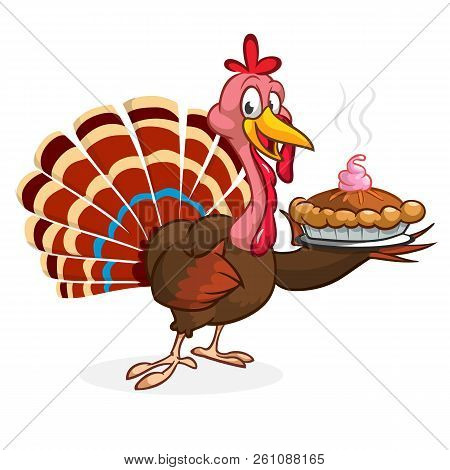 Thanksgiving Cartoon Turkey Bird Holding Fork And Pie. Vector Illustration Of Funny Turkey Character