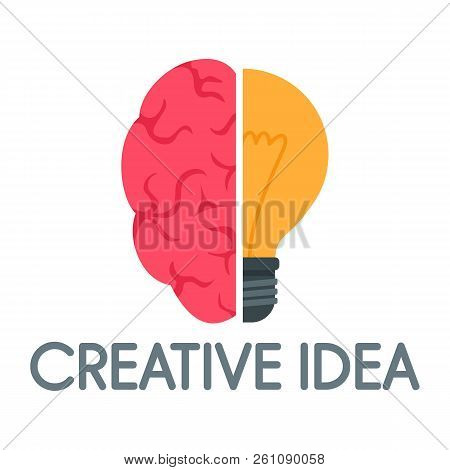 Creative Idea Mind Logo. Flat Illustration Of Creative Idea Mind Vector Logo For Web Design